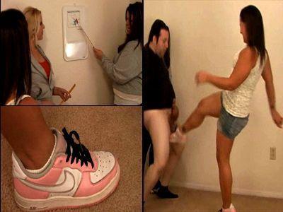 Ballbusting in sneakers